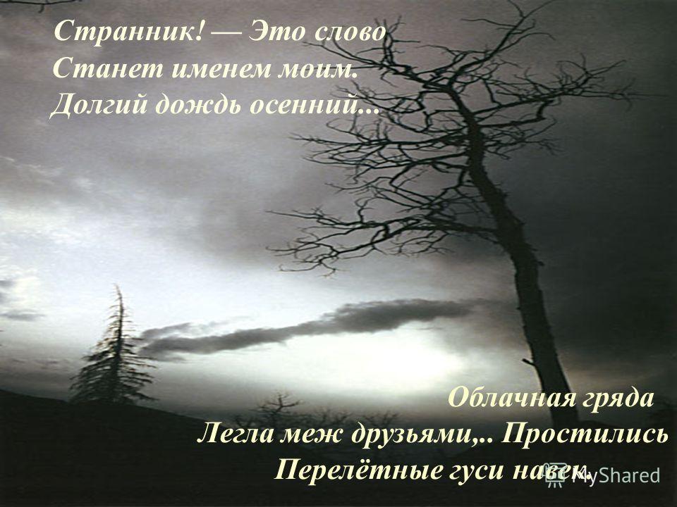 Странник! Это слово Станет именем моим. Долгий дождь осенний... Облачная гряда Легла меж друзьями,.. Простились Перелётные гуси навек.
