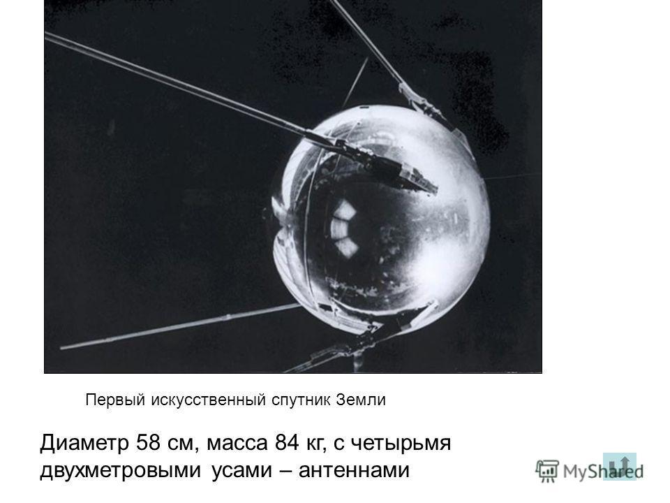 Первый искусственный спутник Земли Диаметр 58 см, масса 84 кг, с четырьмя двухметровыми усами – антеннами