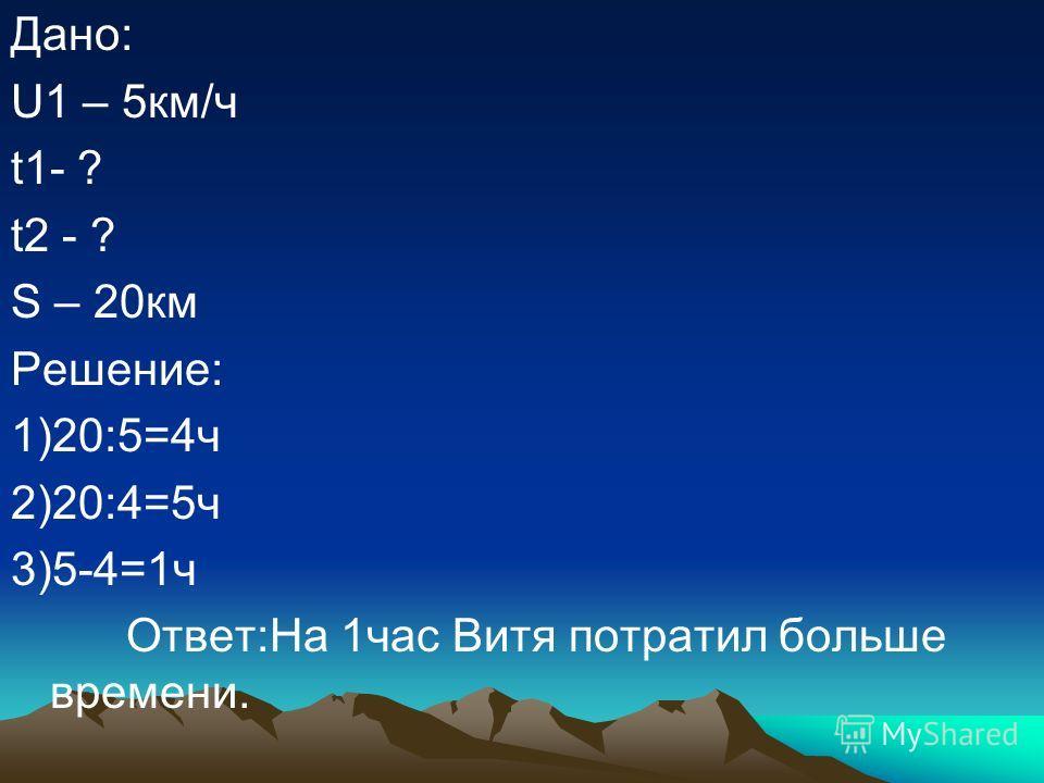 Дано: U1 – 5км/ч t1- ? t2 - ? S – 20км Решение: 1)20:5=4ч 2)20:4=5ч 3)5-4=1ч Ответ:На 1час Витя потратил больше времени.