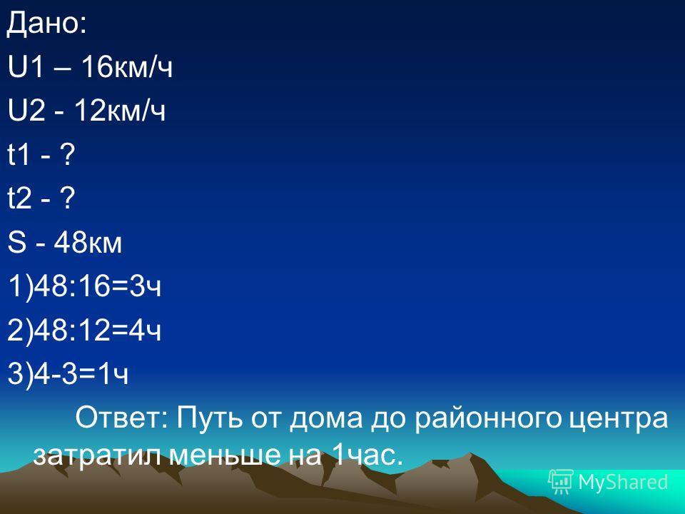 Дано: U1 – 16км/ч U2 - 12км/ч t1 - ? t2 - ? S - 48км 1)48:16=3ч 2)48:12=4ч 3)4-3=1ч Ответ: Путь от дома до районного центра затратил меньше на 1час.