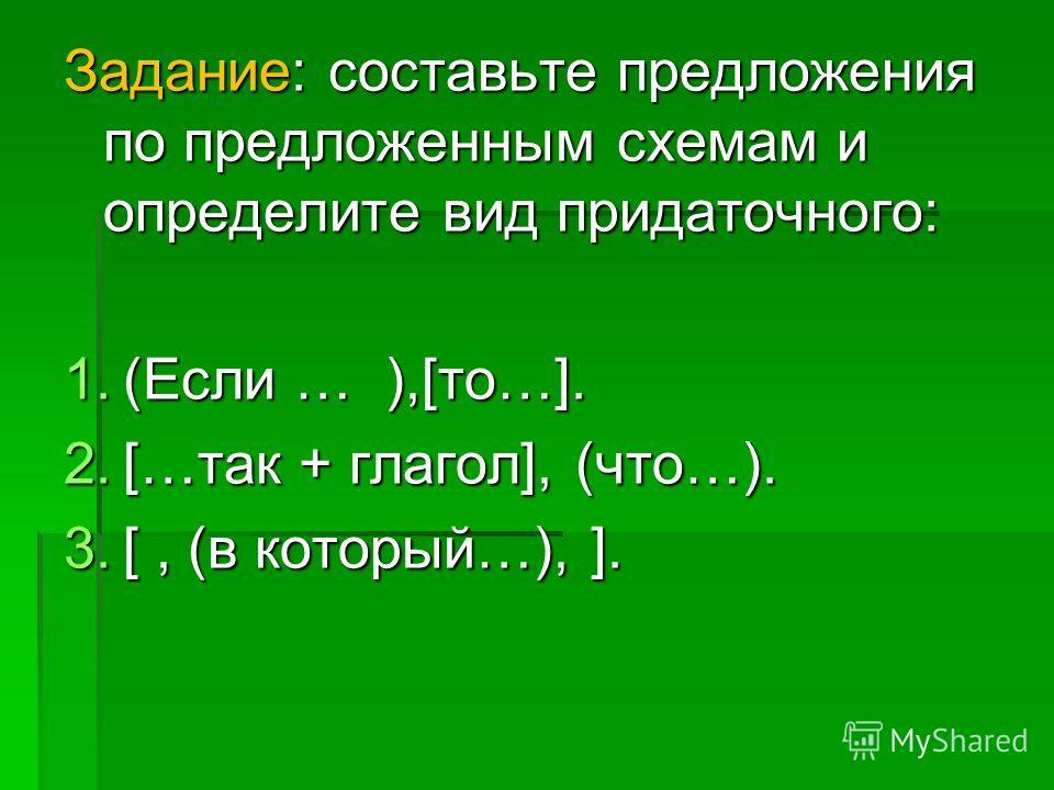 Задание: составьте предложения по предложенным схемам и определите вид придаточного: 1. (Если … ),[то…]. 2. […так + глагол], (что…). 3. [, (в который…), ].