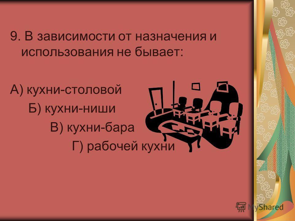 9. В зависимости от назначения и использования не бывает: А) кухни-столовой Б) кухни-ниши В) кухни-бара Г) рабочей кухни