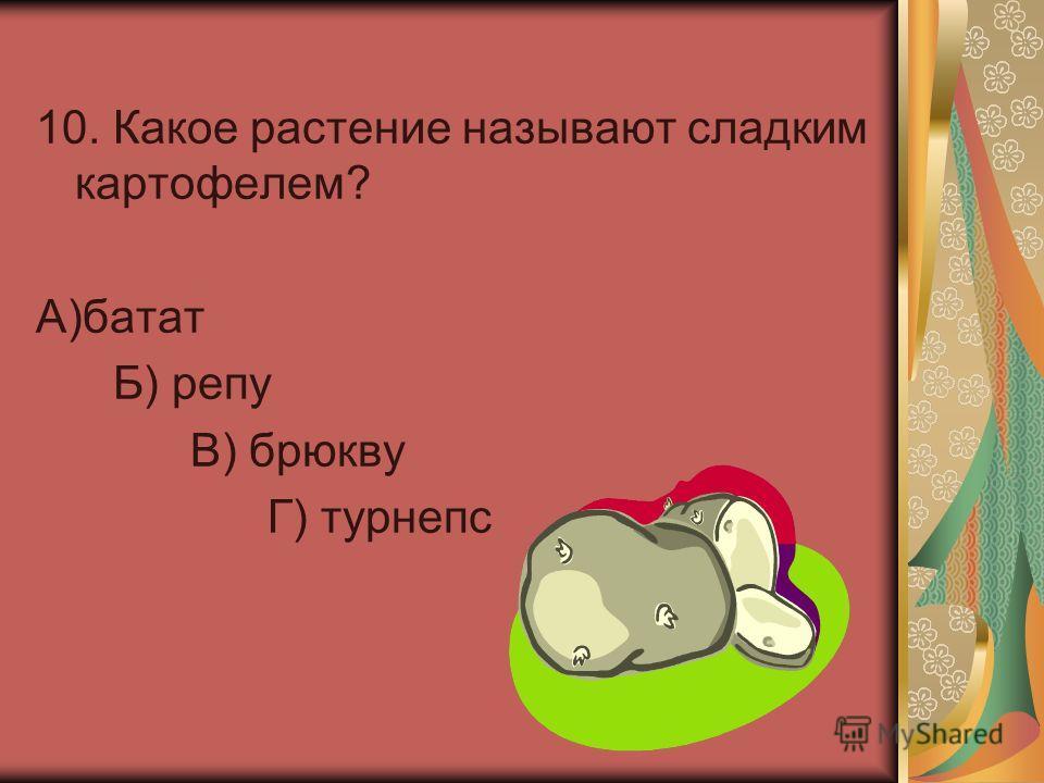 10. Какое растение называют сладким картофелем? А)батат Б) репу В) брюкву Г) турнепс
