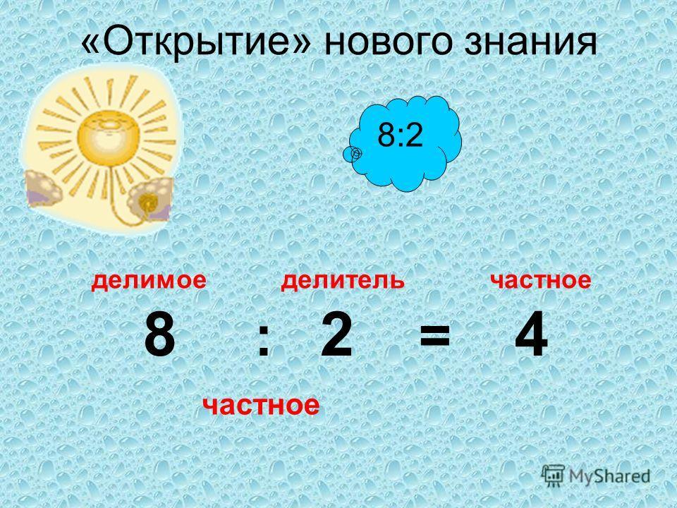 8:2 «Открытие» нового знания 8 : 2 = 4 делитель делимоечастное