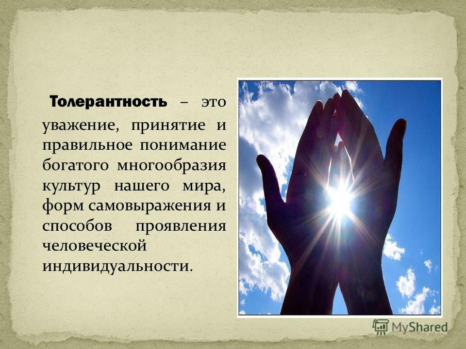 Толерантность – это уважение, принятие и правильное понимание богатого многообразия культур нашего мира, форм самовыражения и способов проявления человеческой индивидуальности.
