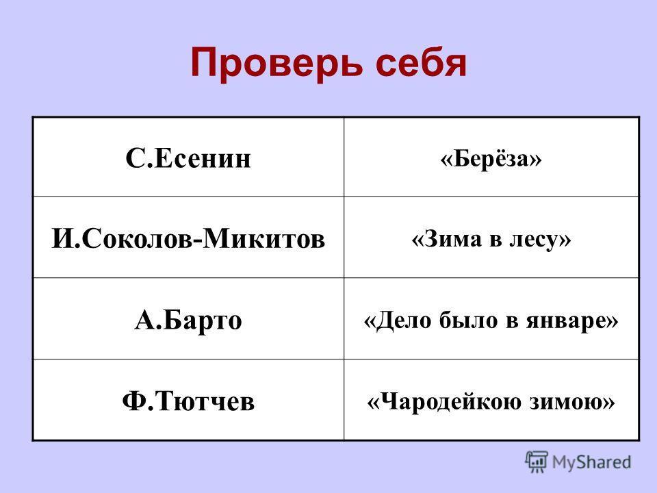 Проверь себя С.Есенин «Берёза» И.Соколов-Микитов «Зима в лесу» А.Барто «Дело было в январе» Ф.Тютчев «Чародейкою зимою»
