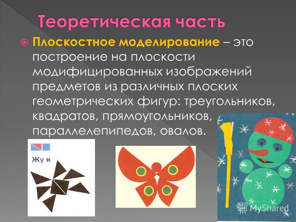 Плоскостное моделирование – это построение на плоскости модифицированных изображений предметов из различных плоских геометрических фигур: треугольников, квадратов, прямоугольников, параллелепипедов, овалов.