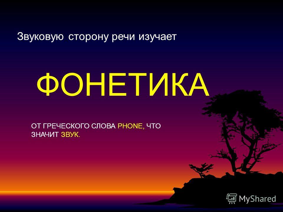Звуковую сторону речи изучает ФОНЕТИКА ОТ ГРЕЧЕСКОГО СЛОВА PHONE, ЧТО ЗНАЧИТ ЗВУК.