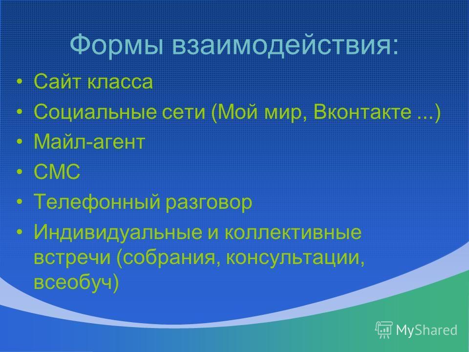Формы взаимодействия: Сайт класса Социальные сети (Мой мир, Вконтакте...) Майл-агент СМС Телефонный разговор Индивидуальные и коллективные встречи (собрания, консультации, всеобуч)