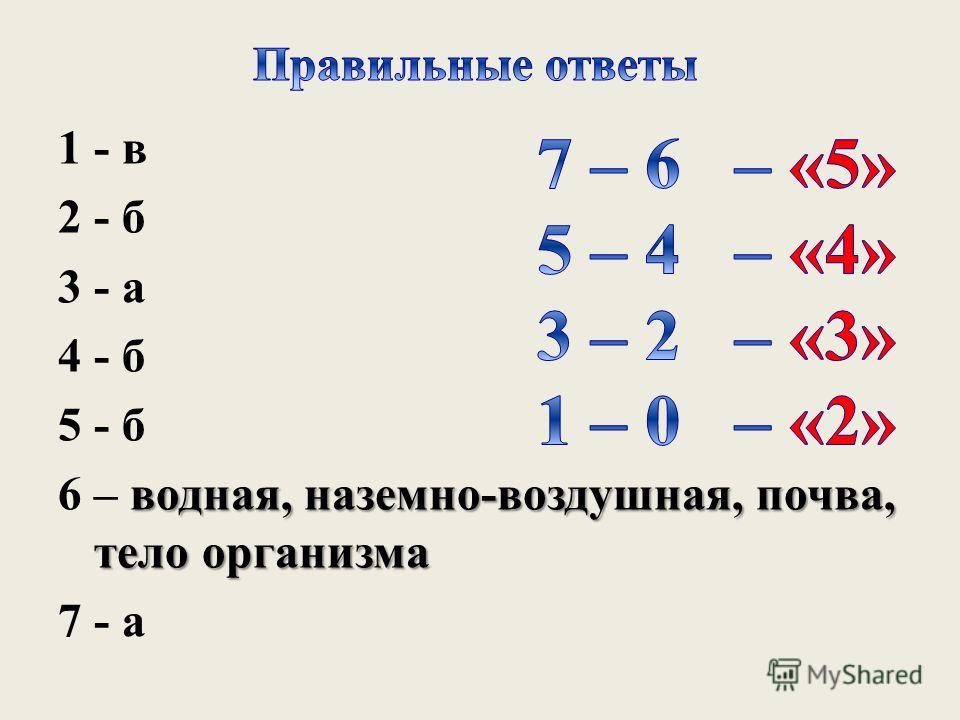 1 - в 2 - б 3 - а 4 - б 5 - б водная, наземно-воздушная, почва, тело организма 6 – водная, наземно-воздушная, почва, тело организма 7 - а