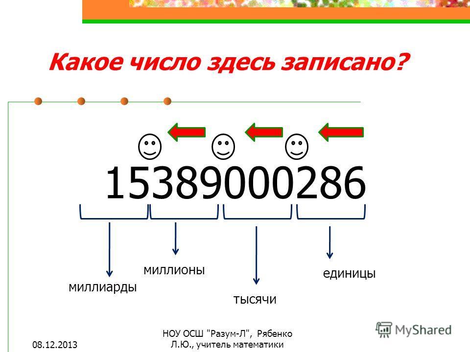 15389000286 единицы тысячи миллионы миллиарды Какое число здесь записано? 08.12.2013 НОУ ОСШ Разум-Л, Рябенко Л.Ю., учитель математики