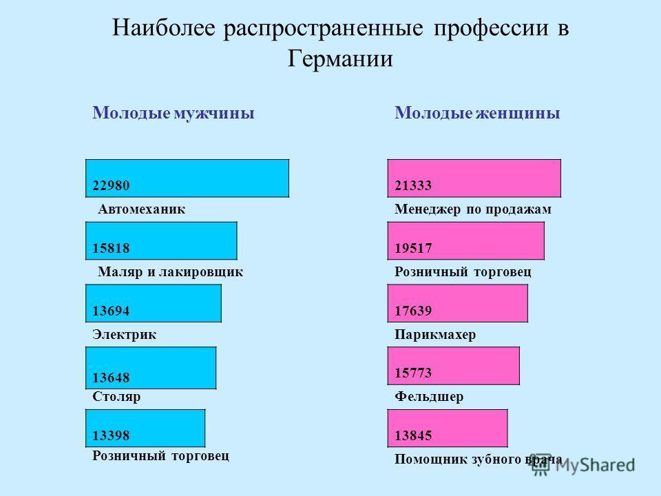 Наиболее распространенные профессии в Германии Молодые мужчины 22980 Автомеханик 15818 Маляр и лакировщик 13694 Электрик 13648 Столяр 13398 Молодые женщины 21333 Менеджер по продажам 19517 Розничный торговец 17639 Парикмахер 15773 Фельдшер 13845 Помо