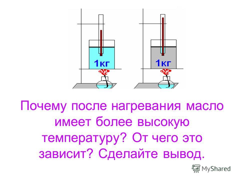 Почему после нагревания масло имеет более высокую температуру? От чего это зависит? Сделайте вывод.
