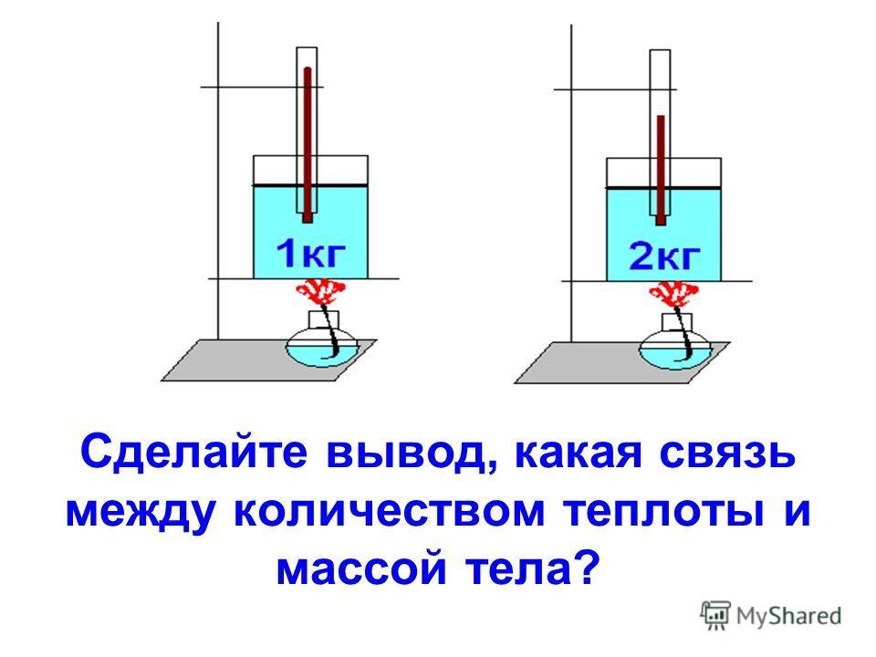 Сделайте вывод, какая связь между количеством теплоты и массой тела?