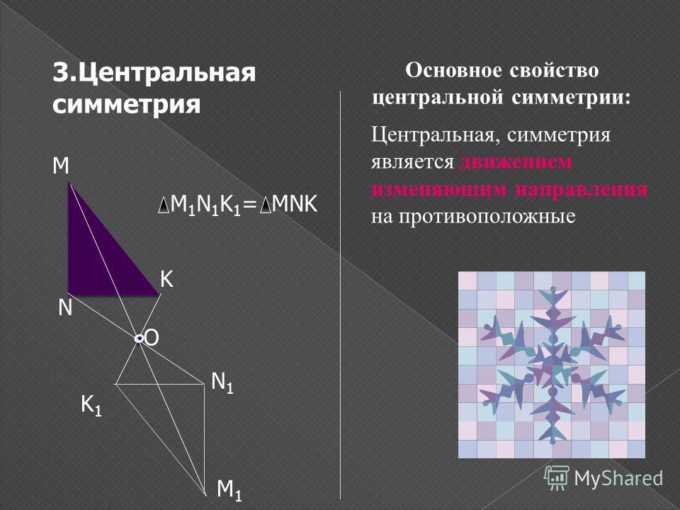 3.Центральная симметрия М М1М1 N N1N1 K K1K1 O M 1 N 1 K 1 = MNK Центральная, симметрия является движением изменяющим направления на противоположные Основное свойство центральной симметрии: