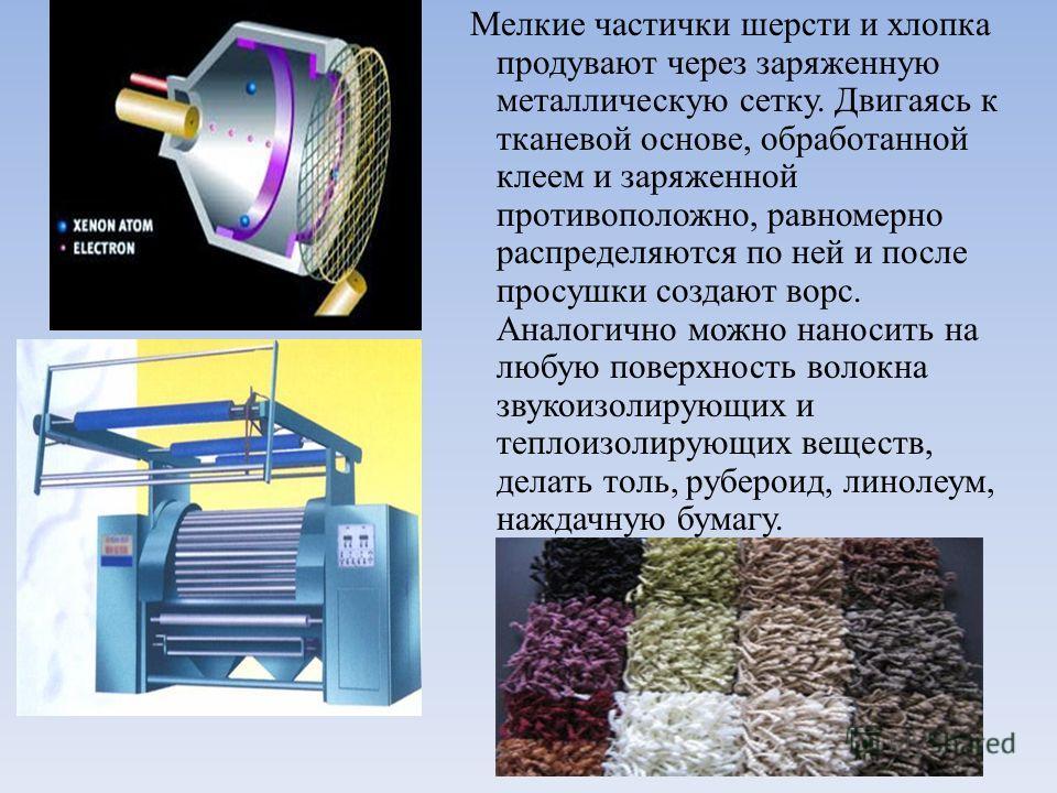 Мелкие частички шерсти и хлопка продувают через заряженную металлическую сетку. Двигаясь к тканевой основе, обработанной клеем и заряженной противоположно, равномерно распределяются по ней и после просушки создают ворс. Аналогично можно наносить на л