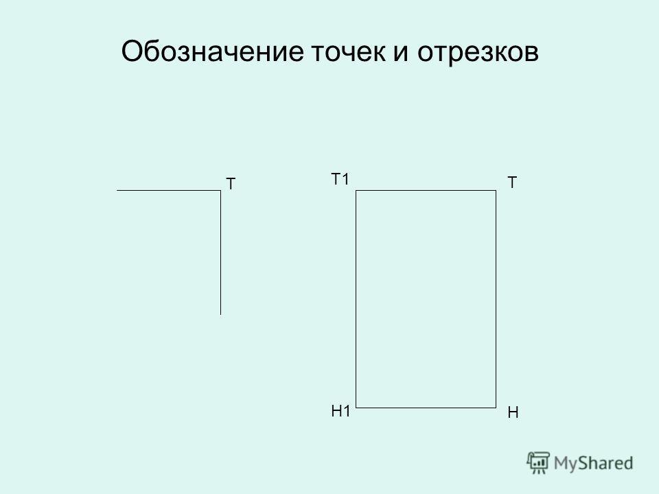 Обозначение точек и отрезков Т Т Т1 Н Н1