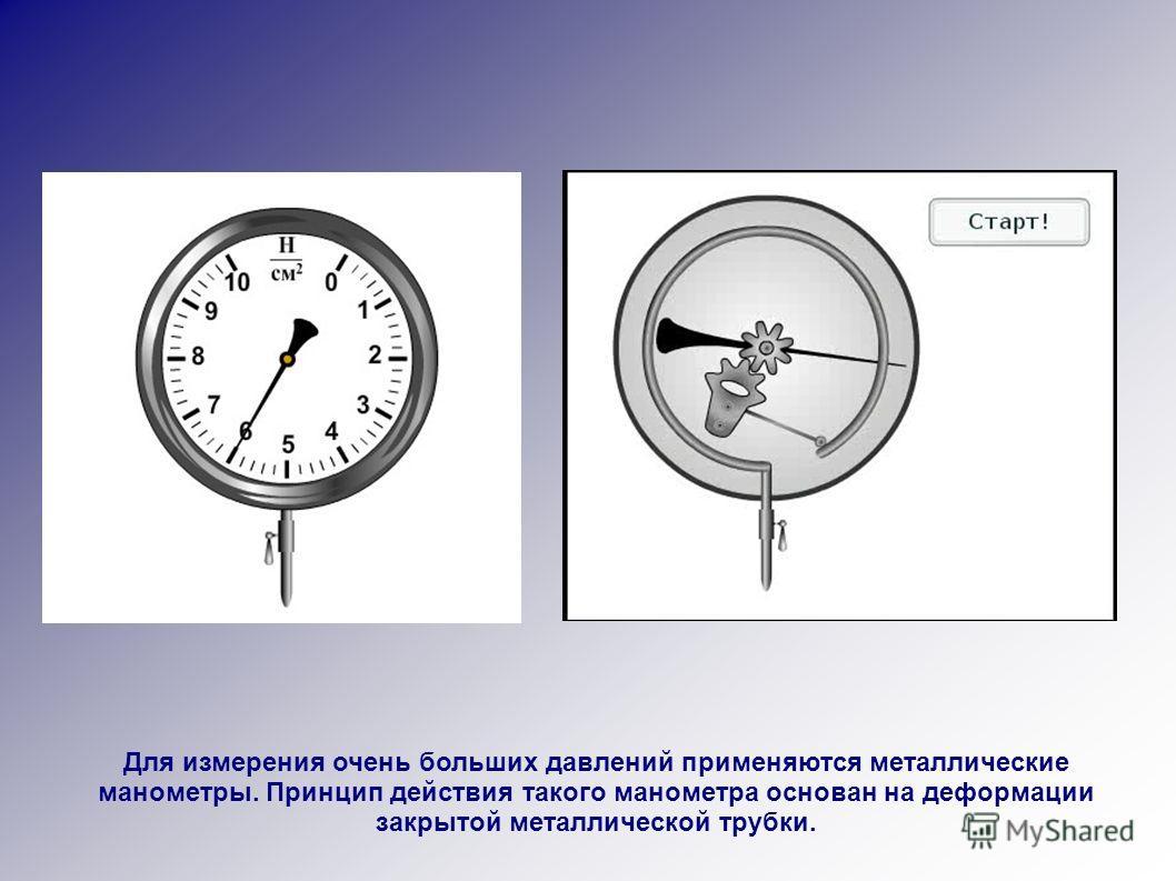 Для измерения очень больших давлений применяются металлические манометры. Принцип действия такого манометра основан на деформации закрытой металлической трубки.