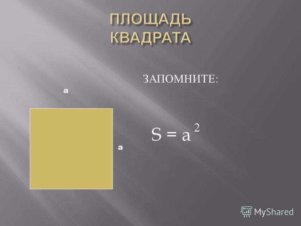 ЗАПОМНИТЕ : S = a 2 а а