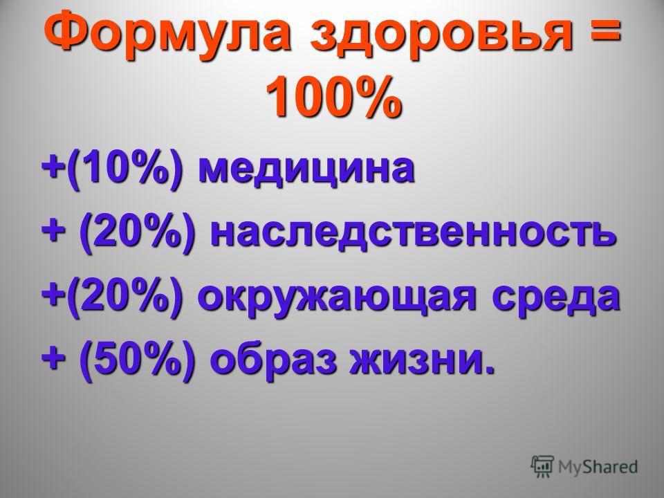 Формула здоровья = 100% +(10%) медицина + (20%) наследственность +(20%) окружающая среда + (50%) образ жизни.