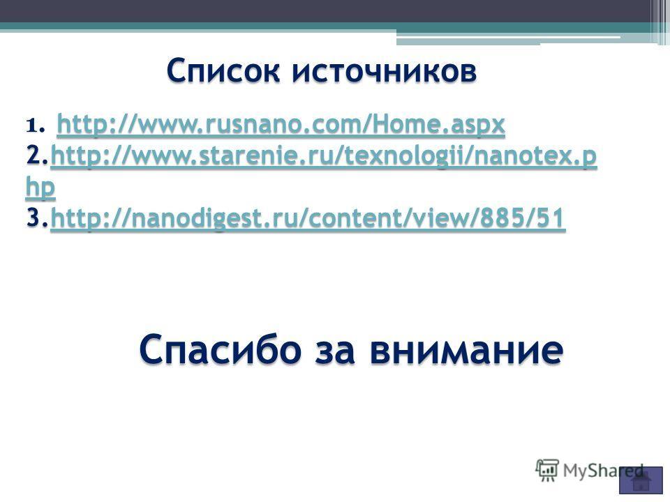 Спасибо за внимание http://www.rusnano.com/Home.aspx http://www.rusnano.com/Home.aspx 1. http://www.rusnano.com/Home.aspx http://www.rusnano.com/Home.aspx 2.http://www.starenie.ru/texnologii/nanotex.p hp http://www.starenie.ru/texnologii/nanotex.p hp