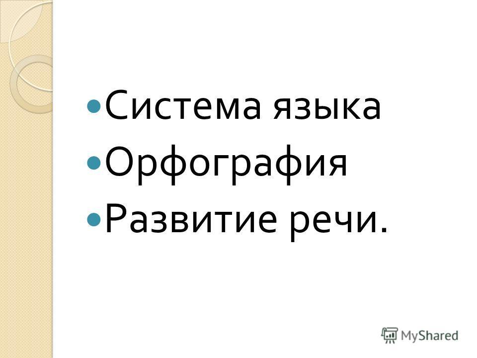 Система языка Орфография Развитие речи.