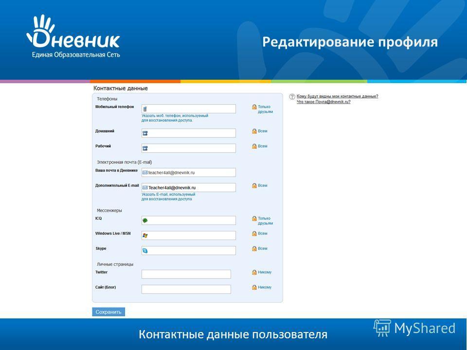 Редактирование профиля Контактные данные пользователя