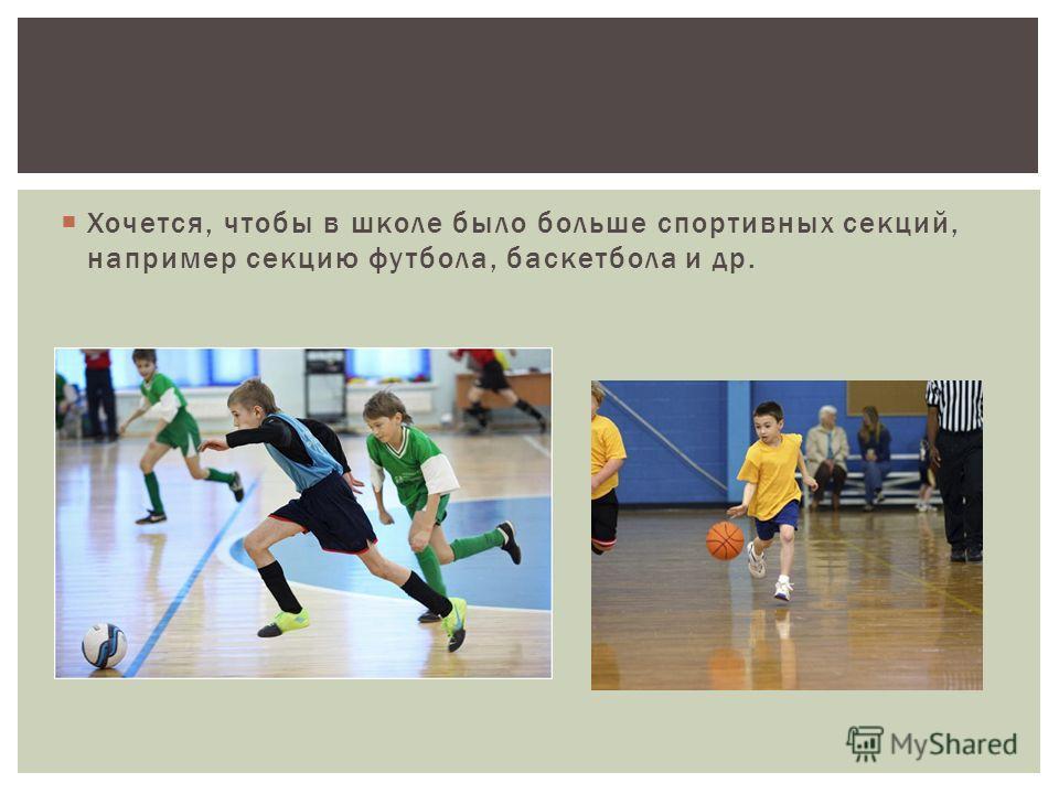 Хочется, чтобы в школе было больше спортивных секций, например секцию футбола, баскетбола и др.