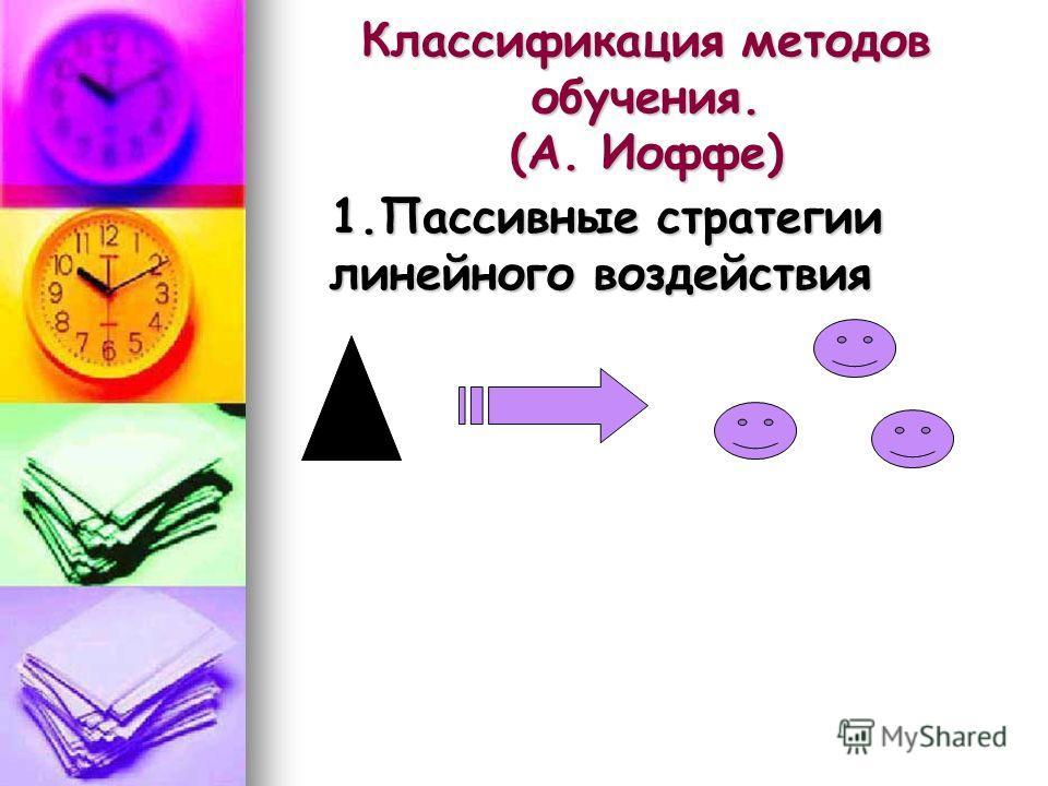 Классификация методов обучения. (А. Иоффе) 1.Пассивные стратегии линейного воздействия 1.Пассивные стратегии линейного воздействия