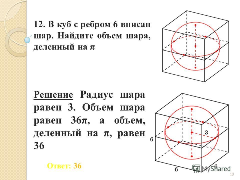 12. В куб с ребром 6 вписан шар. Найдите объем шара, деленный на π Ответ: 36 Решение Радиус шара равен 3. Объем шара равен 36π, а объем, деленный на π, равен 36 13