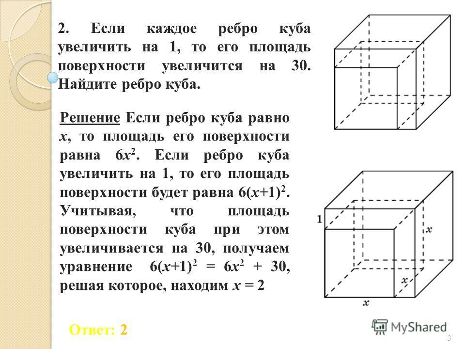 2. Если каждое ребро куба увеличить на 1, то его площадь поверхности увеличится на 30. Найдите ребро куба. Ответ: 2 Решение Если ребро куба равно x, то площадь его поверхности равна 6x 2. Если ребро куба увеличить на 1, то его площадь поверхности буд