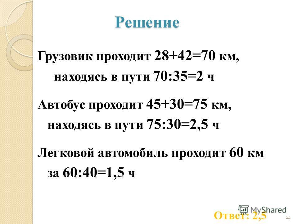 Решение Грузовик проходит 28+42=70 км, находясь в пути 70:35=2 ч Автобус проходит 45+30=75 км, находясь в пути 75:30=2,5 ч Легковой автомобиль проходит 60 км за 60:40=1,5 ч 24 Ответ: 2,5
