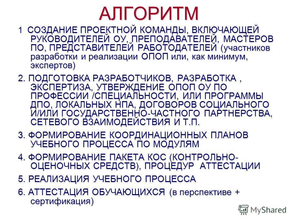АЛГОРИТМ 1 СОЗДАНИЕ ПРОЕКТНОЙ КОМАНДЫ, ВКЛЮЧАЮЩЕЙ РУКОВОДИТЕЛЕЙ ОУ, ПРЕПОДАВАТЕЛЕЙ, МАСТЕРОВ ПО, ПРЕДСТАВИТЕЛЕЙ РАБОТОДАТЕЛЕЙ (участников разработки и реализации ОПОП или, как минимум, экспертов) 2. ПОДГОТОВКА РАЗРАБОТЧИКОВ, РАЗРАБОТКА, ЭКСПЕРТИЗА, У
