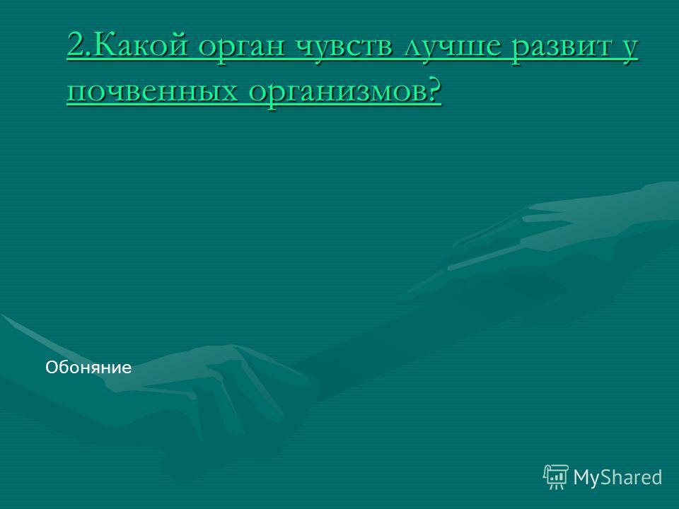 2.Какой орган чувств лучше развит у почвенных организмов? 2.Какой орган чувств лучше развит у почвенных организмов? Обоняние
