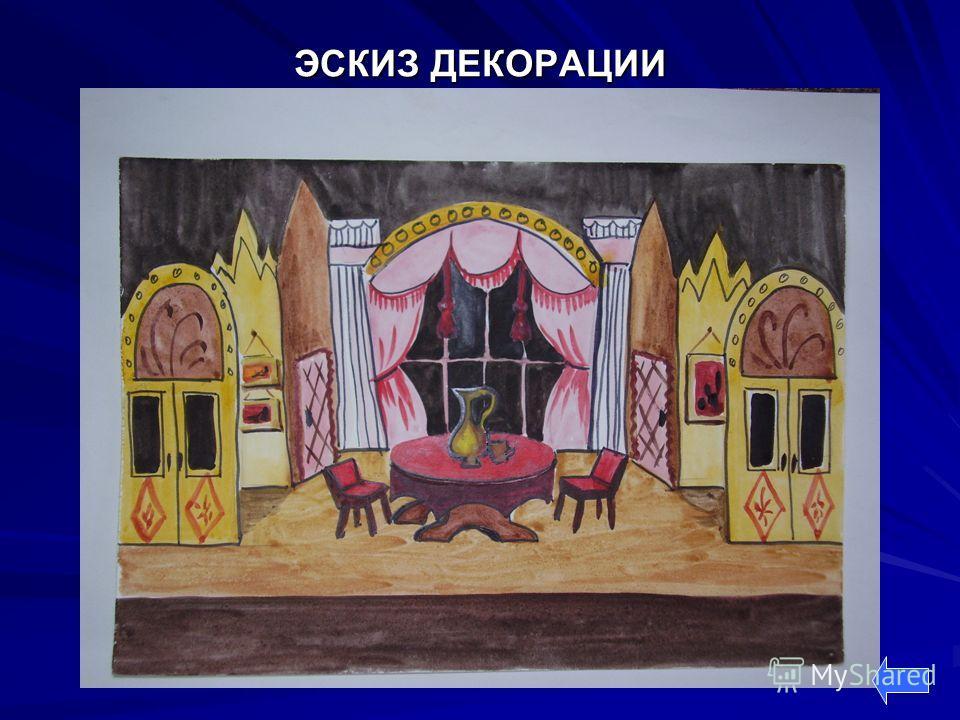 Рисунок декорации для сцены
