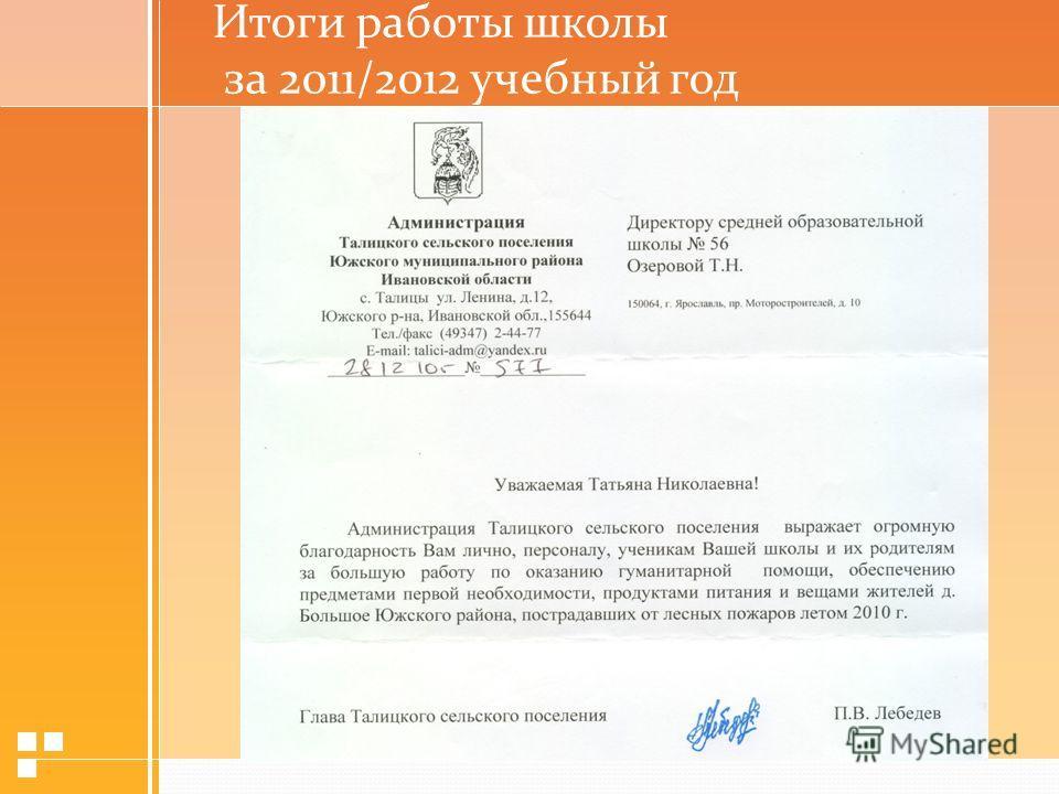 Итоги работы школы за 2011/2012 учебный год