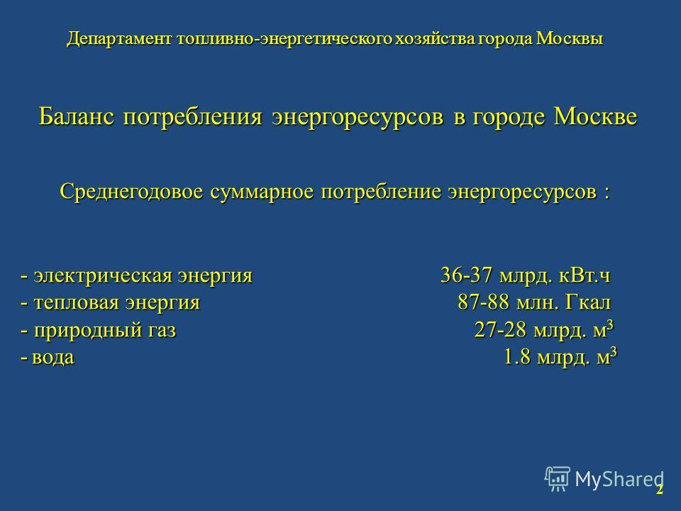 Департамент топливно-энергетического хозяйства города Москвы 2 Баланс потребления энергоресурсов в городе Москве Среднегодовое суммарное потребление энергоресурсов : - электрическая энергия 36-37 млрд. кВт.ч - тепловая энергия 87-88 млн. Гкал - приро