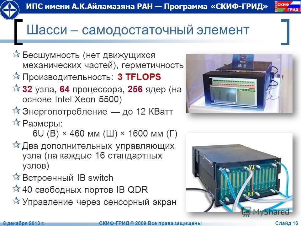 ИПС имени А.К.Айламазяна РАН Программа «СКИФ-ГРИД» Шасси – самодостаточный элемент Бесшумность (нет движущихся механических частей), герметичность Производительность: 3 TFLOPS 32 узла, 64 процессора, 256 ядер (на основе Intel Xeon 5500) Энергопотребл