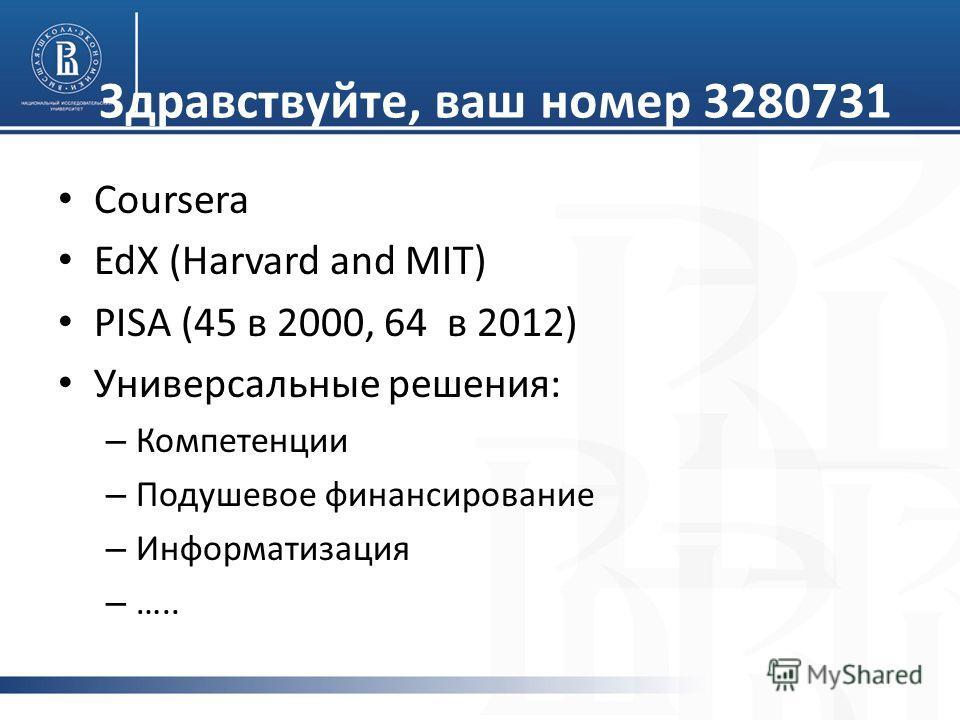 Coursera EdX (Harvard and MIT) PISA (45 в 2000, 64 в 2012) Универсальные решения: – Компетенции – Подушевое финансирование – Информатизация – ….. Здравствуйте, ваш номер 3280731
