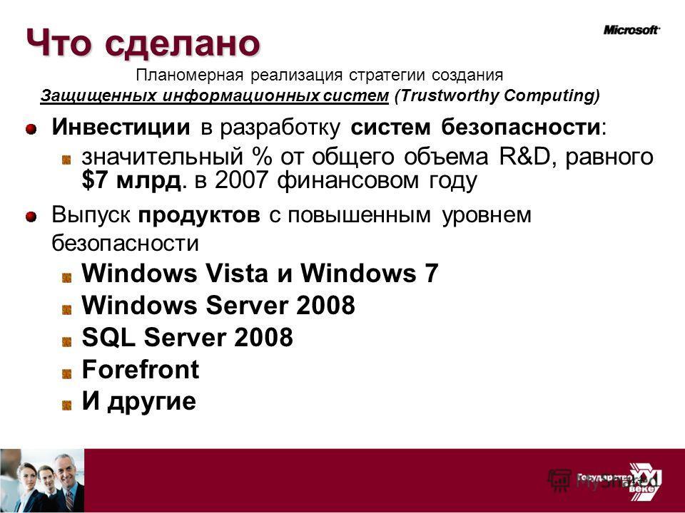 14 Что сделано Инвестиции в разработку систем безопасности: значительный % от общего объема R&D, равного $7 млрд. в 2007 финансовом году Выпуск продуктов с повышенным уровнем безопасности Windows Vista и Windows 7 Windows Server 2008 SQL Server 2008