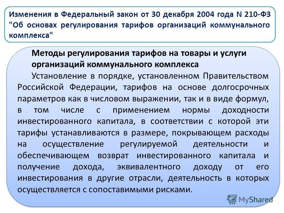 Изменения в Федеральный закон от 30 декабря 2004 года N 210-ФЗ