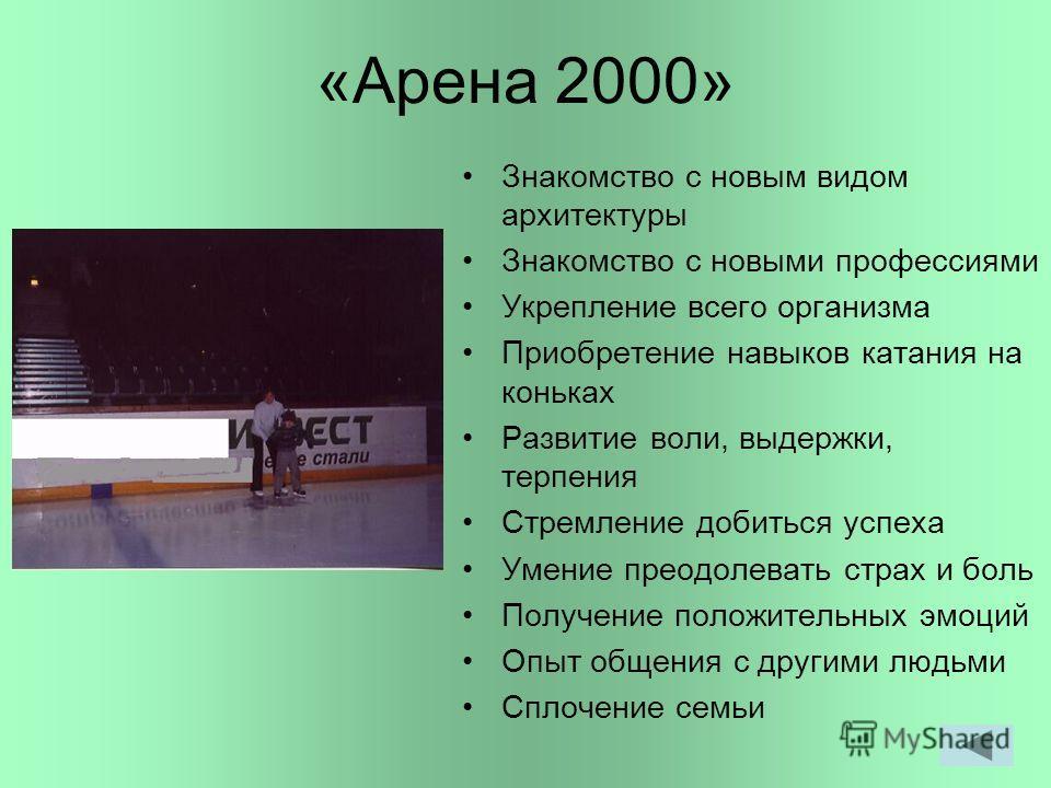 «Арена 2000» Знакомство с новым видом архитектуры Знакомство с новыми профессиями Укрепление всего организма Приобретение навыков катания на коньках Развитие воли, выдержки, терпения Стремление добиться успеха Умение преодолевать страх и боль Получен