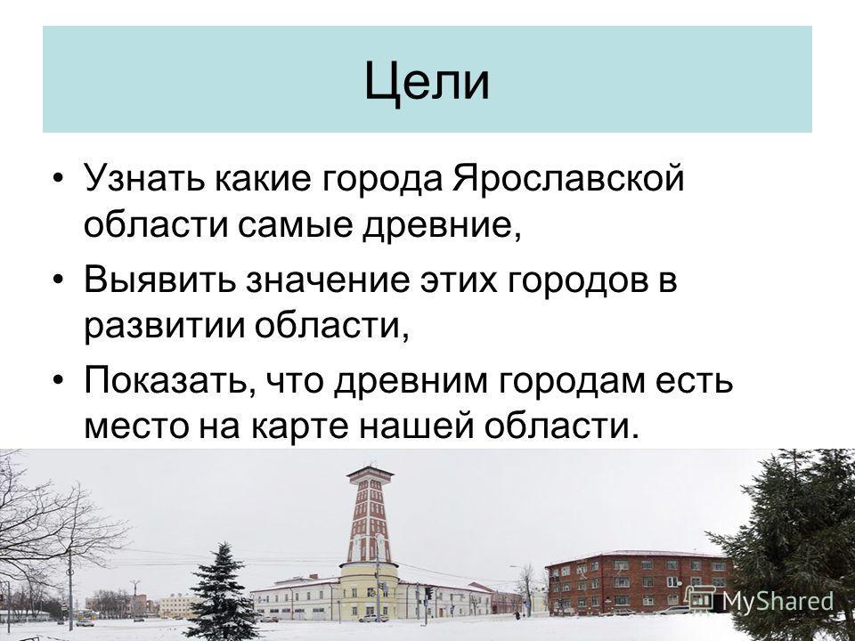 Цели Узнать какие города Ярославской области самые древние, Выявить значение этих городов в развитии области, Показать, что древним городам есть место на карте нашей области.