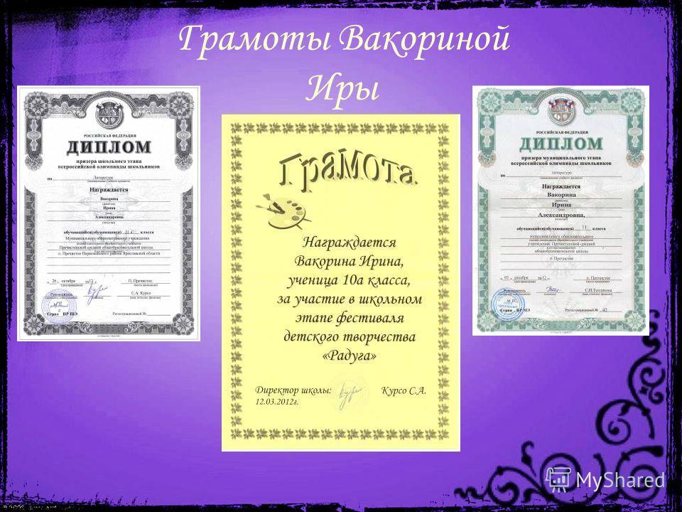 Грамоты Вакориной Иры