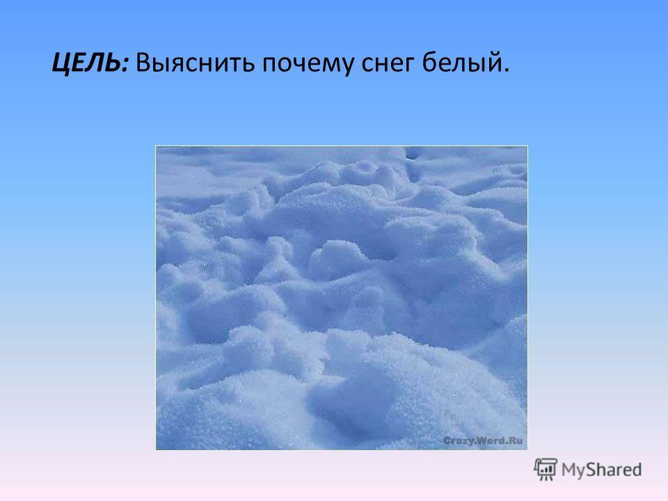 ЦЕЛЬ: Выяснить почему снег белый.