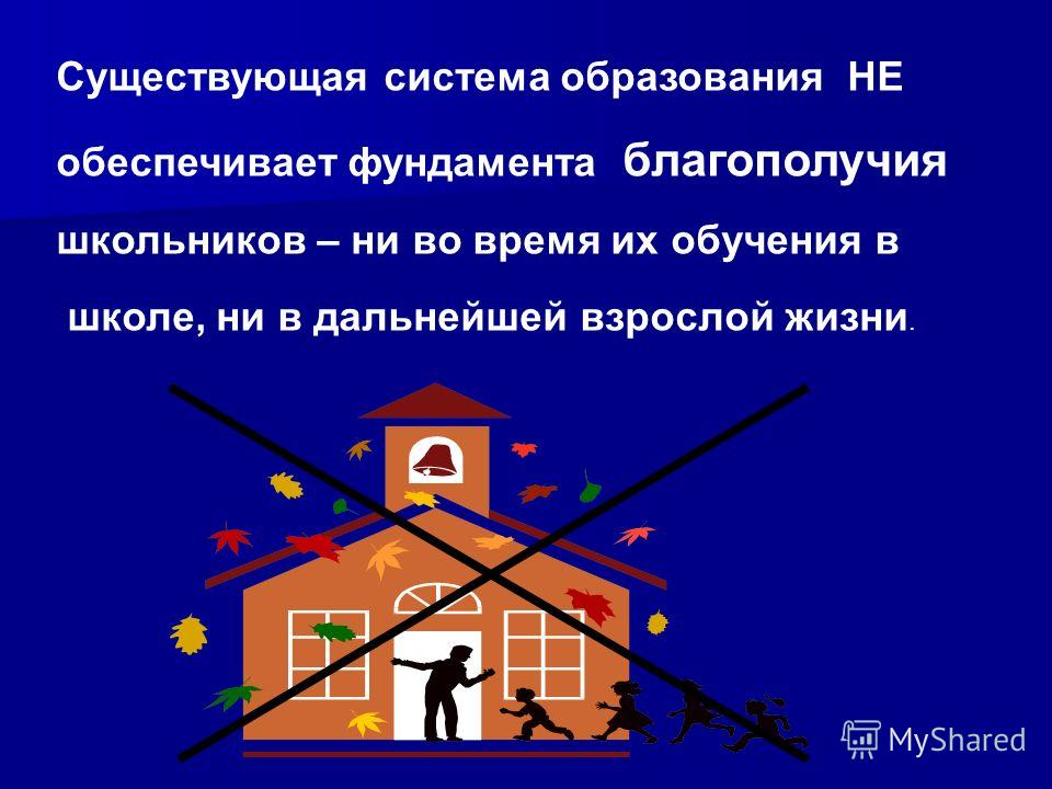 Существующая система образования НЕ обеспечивает фундамента благополучия школьников – ни во время их обучения в школе, ни в дальнейшей взрослой жизни.