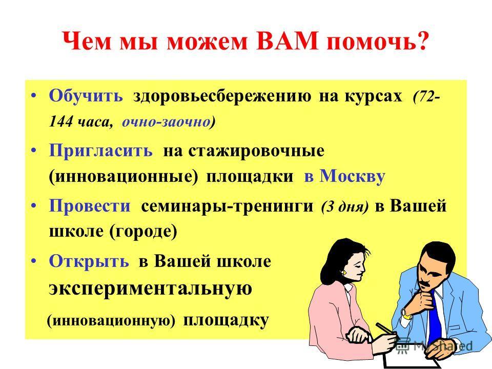 Чем мы можем ВАМ помочь? Обучить здоровьесбережению на курсах (72- 144 часа, очно-заочно) Пригласить на стажировочные (инновационные) площадки в Москву Провести семинары-тренинги (3 дня) в Вашей школе (городе) Открыть в Вашей школе экспериментальную