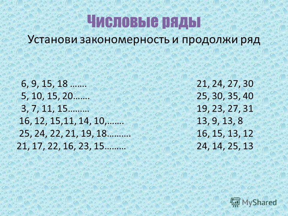 Числовые ряды Установи закономерность и продолжи ряд 6, 9, 15, 18 ……. 5, 10, 15, 20……. 3, 7, 11, 15……… 16, 12, 15,11, 14, 10,……. 25, 24, 22, 21, 19, 18………. 21, 17, 22, 16, 23, 15……… 21, 24, 27, 30 25, 30, 35, 40 19, 23, 27, 31 13, 9, 13, 8 16, 15, 13