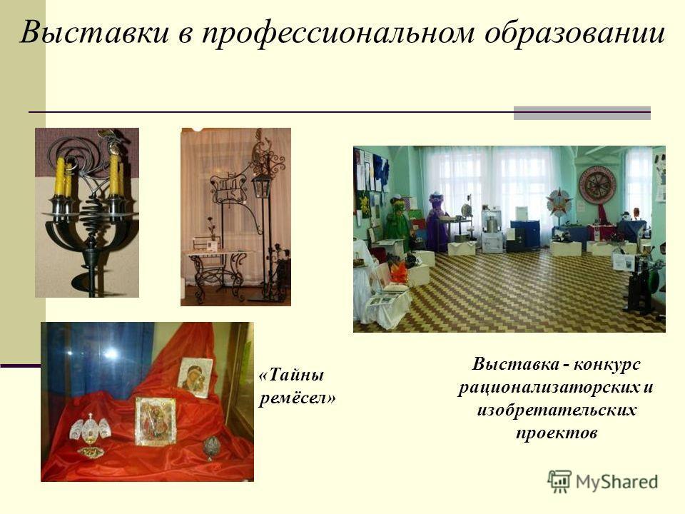 Выставки в профессиональном образовании «Тайны ремёсел» Выставка - конкурс рационализаторских и изобретательских проектов