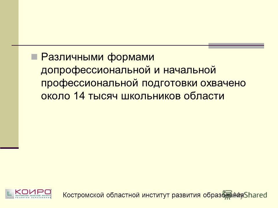Различными формами допрофессиональной и начальной профессиональной подготовки охвачено около 14 тысяч школьников области Костромской областной институт развития образования